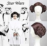 Party Queen Star Wars Prinzessin Leia Organa Solo Cosplay Perücke braun Kunsthaar Haar Perücken mit tief Mitte Teil für Frauen Hitzebeständig geflochten Perücke
