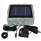 SOLAR TEICHPUMPE GARTENBRUNNEN und LED LICHT - WASSERSPIEL ZIERBRUNNEN VOGELBAD SOLARBRUNNEN für GARTEN TEICH- sehr DEKORATIVES STEINDESIGN, RÜGEN 200-1 SOLAR-TEICH-SET, LEISTUNGSOPTIMIERTE Solar Teichpumpe mit langlebigem stabilem belastbarem 2-Watt-SOLARPANEL, max. 250L/h max. 0,9m-Fontänenhöhe für Gartenteich Solarbrunnen Springbrunnen in DEKORATIVER STEIN-OPTIK, JETZT WIEDER LIEFERBAR zum EINFÜHRUNGSPREIS!