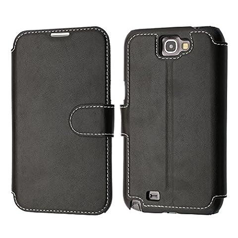 Samsung Galaxy Note 2 Hülle, Mobest Galaxy Note 2 Lederhülle, Ledertasche Wallet Brieftasche Tasche Schutzhülle mit Magnetverschluss Kartenfach Standfunktion für Samsung Galaxy Note 2 - Schwarz