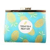 Lubier Coin Purse Kids Girls bolso de la bolsa de cambio de la PU paquete femenino versión corta lindo fresco bolso de la estudiante clave de la hebilla size 10.5 cm * 9.0 cm (Ananas)