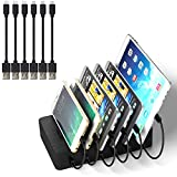 IMLEZON USB Charging Station for Multiple Devices 6-Port Multi USB Charging Dock Universal Quick Charger for iPhone iPad Samsung Tablets Smartphones (6 Short Cables Included, Black)