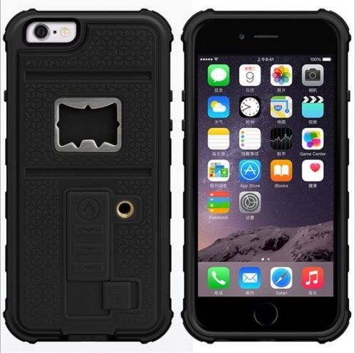 NEW HYBRID MOBILE CASE WITH CIGARETTE LIGHTER & BOTTLE OPENER FOR APPLE IPHONE 6/6S BLACK BLACK