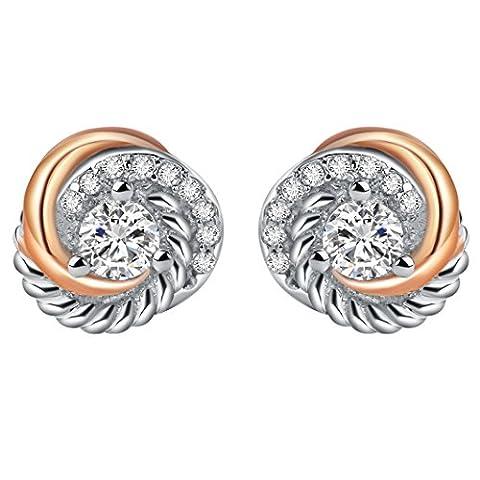 silverage Ohrstecker Rotgold-Vergoldet Sterling-Silber Zirkonia-besetzt zweifarbige Liebesknoten - 14k Oro Jade Stud