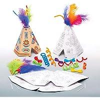Baker Ross- Kits de tipis para colorear y hacer punto de cruz (Pack de 4) Manualidades infantiles para colorear, decorar, coser y exhibir