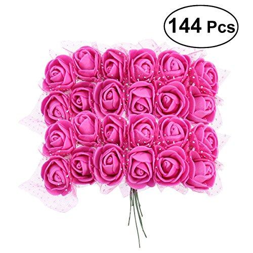 VORCOOL 144 stücke Künstliche Blume Rose Schaum Rose Blumen mit Kristall Spitze für DIY Bouquets Hochzeit Baby Shower Home Decor