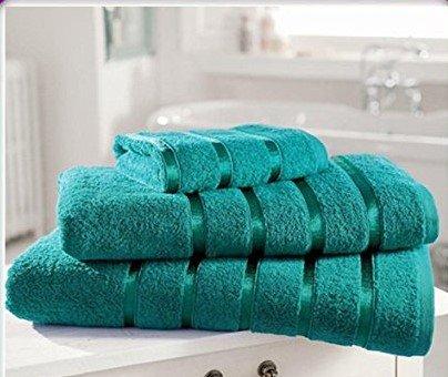Laura's Secret - Set di asciugamani in cotone egiziano, biancheria da bagno di qualità eccellente, disponibile in vari colori, Teal, Pair Of Hand Towels