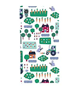 KIDDISH PATTERN OF HUTS AND TRUCKS IN A WHITE BACKGROUND 3D Hard Polycarbonate Designer Back Case Cover for Sony Xperia Z5 :: Sony Xperia Z5 Dual (5.2 Inches)