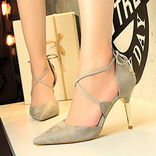 z&dw Sexy Metal Fine Heels Suede Hollow Cross Strap Sandalen Gris