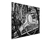 50x70cm Wandbild Fotoleinwand Bild in Schwarz Weiss Retro Bild Mercedes -Benz