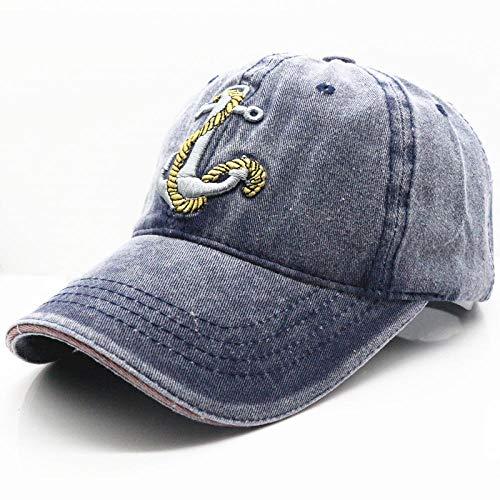 capswhh Baseballmütze - Neuer Anker Gewaschen Denim Baseballmütze Männer Und Frauen Retro Cap @ Navy_Adjustable