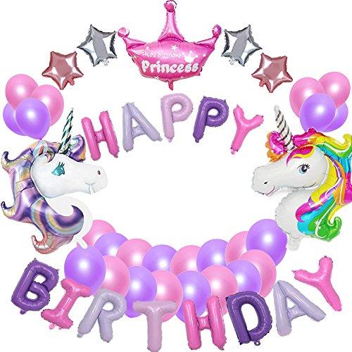 Yansion suministros de decoraciones de fiesta de unicornio, con 2pcs enorme globo de unicornio, feliz cumpleaños Ballon Banner, para niña pequeña fiesta de cumpleaños de dama de niño, boda (unicornio)
