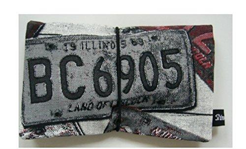 Büroteuse Tabaktasche / Drehertasche im buntem Blechschild-Design, jede Tasche ein Unikat! KFZ-Schild