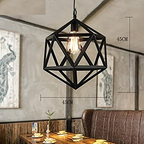 Aldea Americana Creativa ZSQ candelabros antiguos y una industria en forma de jaula Simple nórdicos Retro lámpara de araña de hierro de luz colgantes Restaurante Bar #15