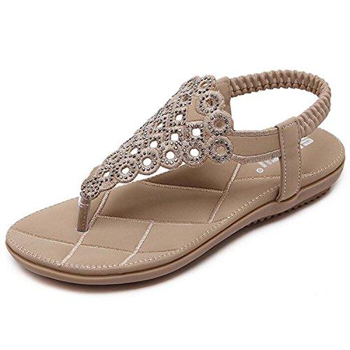 Minetom Damen Mädchen Sommer Böhmen Flach Sandalen Strand Schuhe mit Strass Löcher Peep Toe Flip Flops Aprikose EU 40 (Mit Strass-schnalle Kleid Mini)