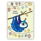 Coole Geburtstagskarte mit lustigem Faultier: Happy Birthday