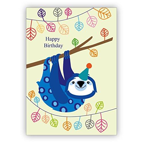 Coole Geburtstagskarte mit lustigem Faultier: Happy Birthday (Happy Zum Drucken Halloween)