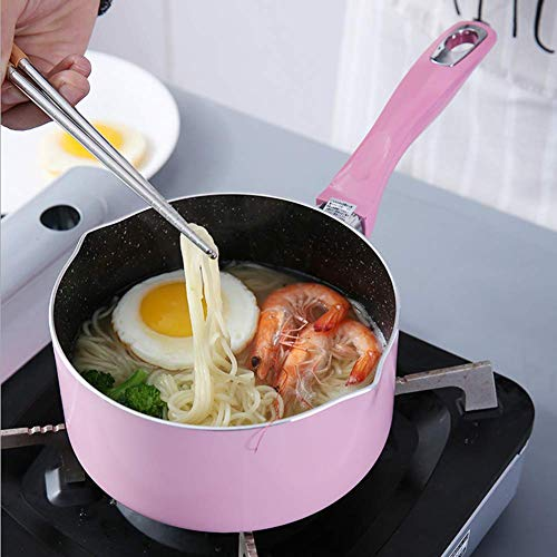 Outtybrave antiadhésive Casserole, casserole à lait de 16cm avec couvercle en verre pour induction cuisinière cuisinière à gaz pour la chaleur Lait Cook Noddles 16cm rose