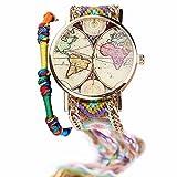 Bracelets Réf2b59 BR.1040 - Montre Brésilien Rose Vert - Motif Carte du Monde...