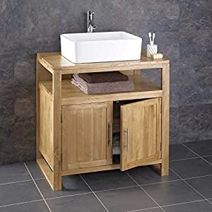 Cube Solid Oak 75cm Wide By 50cm Deep Two Door, 1 Drawer Vanity Cabinet with Trieste Basin, Tap and Waste by Moda