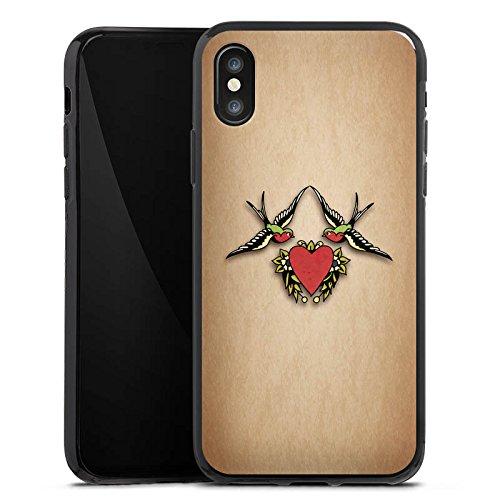 Apple iPhone X Silikon Hülle Case Schutzhülle Schwalben Liebe Tätowierung Tattoo Silikon Case schwarz