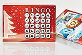DiPrint 100 große Bingokarten für die Weihnachtsfeier 25 aus 75 Zahlen