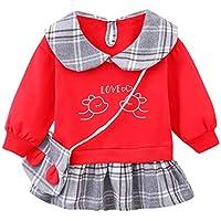 ZHMEI Vestidos niña Invierno | Niño Bebé Niños Niñas Primavera Peter Pan Collar Plaid Princesa Vestido Bolso Ropa 6 Meses - 3 años