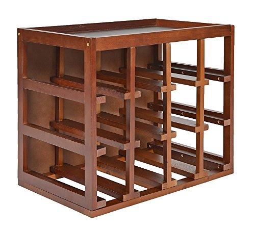 ts-ideen Cantinetta impilabile per 12 bottiglie in legno color noce con vassoio superiore