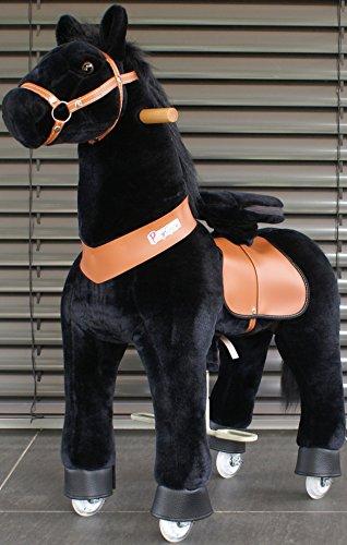 PonyCycle Schwarz Pferd auf Rädern Medium Schwarze Mähne