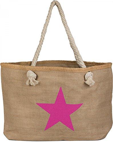 styleBREAKER Strandtasche XXL mit Stern Print in Bast Optik und Reißverschluss, großer Shopper, Badetasche, Damen 02012166, Farbe:Braun-Pink (Bast-shopper)