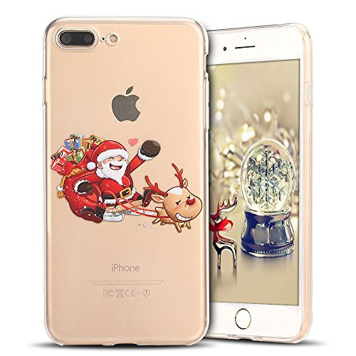 Cover iPhone 7 plus Custodia iPhone 8 plus Silicone Natale Anfire Morbido Flessibile TPU Gel Case Cover per Apple iPhone 8 plus/7 plus (5.5 Pollici) Ultra Sottile Clear Trasparente Copertura Antiurto  Babbo Natale Guida