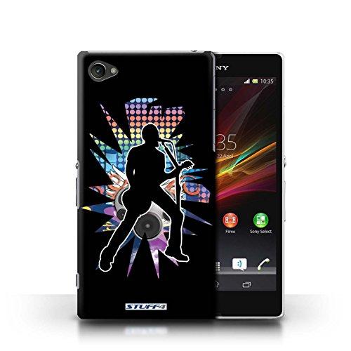 Kobalt® Imprimé Etui / Coque pour Sony Xperia Z1 Compact / Solo Blanc conception / Série Rock Star Pose Chanteur Noir