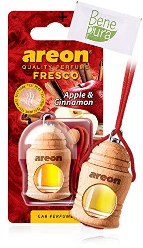 AREON auto deodorante profumo fresco 4ml-Diffusore di profumo di mela e cannella-appeso bottiglia con copertura in legno naturale, a lunga durat
