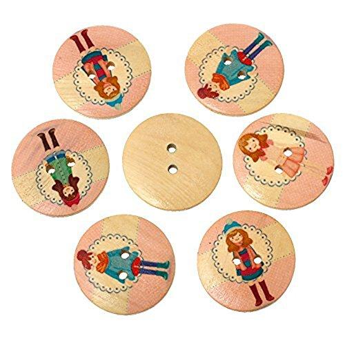 20psc Holz-colorflu–Runde Kleidung Knöpfe 2Löcher Tasten für Nähen und Basteln DIY Craft (Drei-tasten-anzug Leichtes)