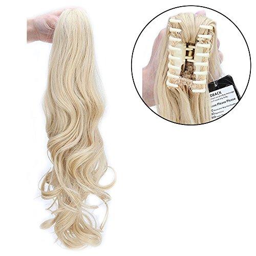 Coda capelli extension coda di cavallo con pinza 60cm estensioni per capelli ondulati mossi claw on ponytail hair resistente al calore, biondo dorato mix biondo chiarissimo