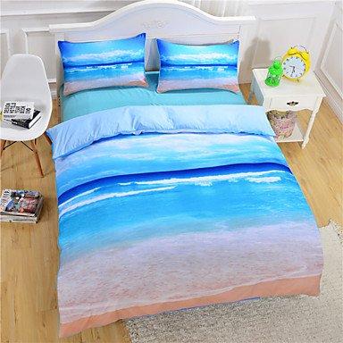 AIURLIFE Playa mar reina funda de edredón conjunto ropa de cama completo doble eje 3D , queen