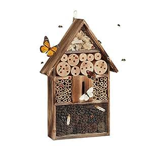 Relaxdays Insektenhotel 50 cm groß, Zum Aufhängen, Bienenhotel und Schmetterlingshaus, Geflämmtes Holz, natur