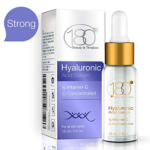 Siero all'acido ialuronico per viso e occhi - 180 cosmetics - siero della pelle con acido ialuronico puro e vitamina c - idrata e rassoda - riduce le rughe e le linee sottili per un effetto anti-età