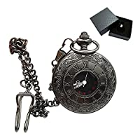 Roman Retro Pocket Watch, Old Hollow Mechanical Quartz Pocket Watch Steampunk Japanese Movement With Chain For Men And Women