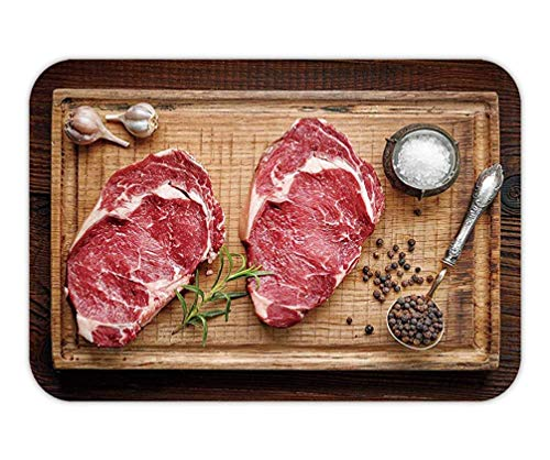 LULABE Doormat Fresh raw Beef Steak on Wooden Cutting Board top View 23.6 W X 15.7 W Inches Top Round Steak