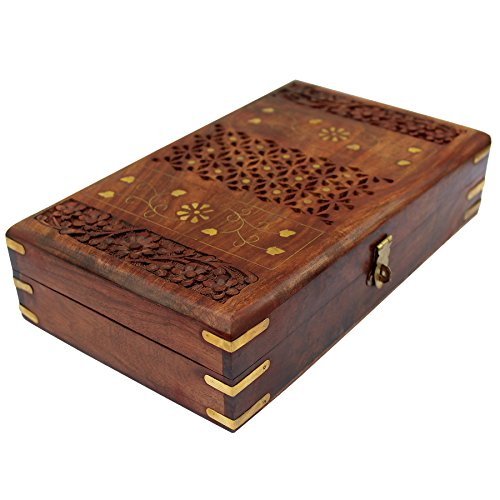 ITOS365 Handmade Wooden Jewellery Box for Women Jewel Organizer Hand Carved with Intricate Carvings Gift Items - 10 Inches