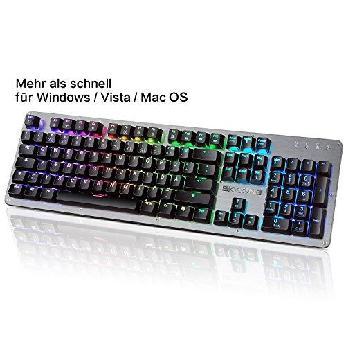 Mechanische Gaming Tastatur - Yunshangauto® RGB Gaming Tastatur Beleuchtet Blue Switches mit 105 Makro Tasten QWERTZ DE Layout - Deutsche Tastatur USB für PC und Laptop - Aluminium