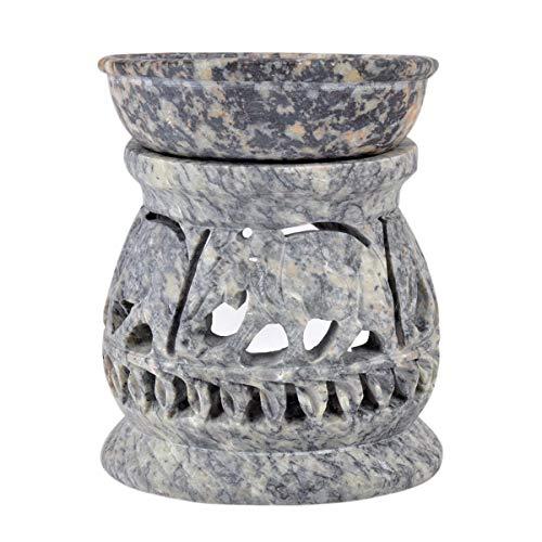 Hashcart Teelicht Halter, Votivkerze Halter Dekorative aus Speckstein, Öl Diffusor mit Elefanten Carving für Home Décor (Diffusor-halter)