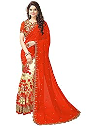 Rozdeal Orange And Cream Half And Half Embroidery Worked Saree