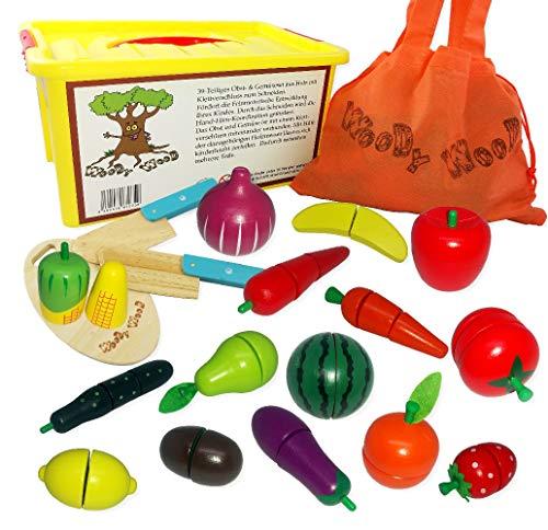WoodyWood Schneidebrett Obst Gemüse 39tlg. Schneideset mit Klettverbindung aus Holz für Kinder Spielzeug