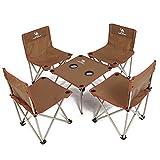 CAMEL CROWN Pliant 4 Chaises et Tables Set Portable léger Chaise de Camping siège avec Sac de Transport pour la pêche Plage Jardin Pique-Nique Barbecue extérieur