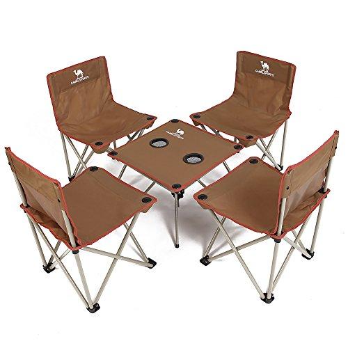 CAMEL Campinghocker Set Tragbare Klapp Tisch Stuhl 5 Set Camping Stuhl Kombination Outdoor Tisch Und Stuhl Set Selbstfahrende Freizeit Strand Stuhl Für Outdoor Camping Familienessen Angeln - Klapp Strand Camping Stuhl