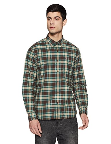 Arrow Sports Men's Checkered Slim Fit Casual Shirt (ASVSH1311_Green_40)