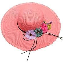 402b0e56cc4b9 Homyl Sombrero de Protección Solar Cómodo Aire Libre Paja Tricolor Flor  Verano Vacaciones - Rosado