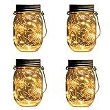 Beslands Solar Mason Jar Light Warm White 20 LED Lampen Weihnachten Dekorative Beleuchtung für Glas Mason Jar Hängen Laterne Licht Garten Patio (Warmweiß)