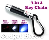 #2: Gadget Hero's 3 in 1 Portable Emergency Key Chain Has Laser Pointer, Led Torch (Flash Light) & UV Light (Color May Vary)